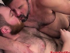 Бородатый седой гей вылизывает волосатый анус твинка