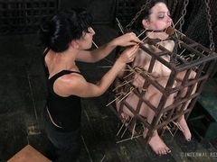 Экстремальная пытка в клетке бондажа