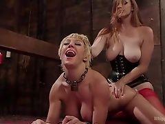 Коротко стриженая блондинка трахается со страпоном